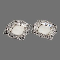 Rose And Scroll Rectangular Butter Pads Pair Gorham Sterling Silver