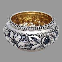 Gorham Beaded Floral Open Salt Dish Gilt Interior Sterling Silver 1890
