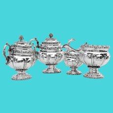 Four Piece Tea Set Coin Silver John Monell NYC 1820s Mono WEAM