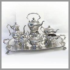 Seven Piece Tea Set Tray Gorham Sterling Silver 1911 Mono J