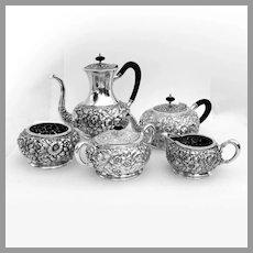 Repousse Floral Five Piece Tea Coffee Set Silverplate EGWS