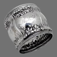 Floral Napkin Ring Alvin Sterling Silver Mono MLP
