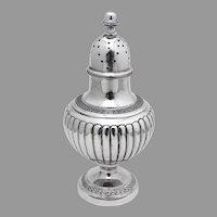 Large Fluted Shaker Greek Key Rims Pedestal Base Coin Silver 1870