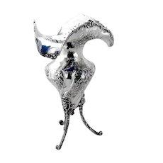 Ruffled Rim Footed Vase Sterling Silver Emile Delaire France