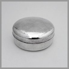 Japanese Round Box Hammered Sterling Silver  1920s