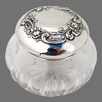 Dresser Jar Gorham Sterling Silver Lid Cut Glass Body No Mono