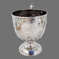 Repousse Grapevine Cup Bailey Coin Silver Philadelphia Mono Talbot