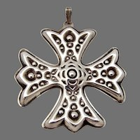 Christmas Cross Ornament Reed Barton Sterling Silver 1975