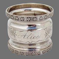 Ornate Napkin Ring Coin Silver Mono Alice
