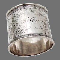 Aesthetic Napkin Ring Bird Engravings Coin Silver Mono K Shear