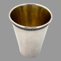 Netafim Kiddush Cup Gilt Interior Ornate Border Sterling Silver Israel