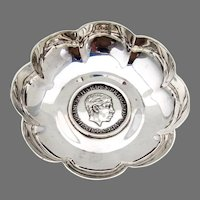 English Bowl Prince Charles 1969 Medal Insert Sterling Silver
