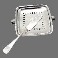 Hammered Butter Dish Knife Set Gorham Sterling Silver Mono MDS