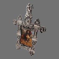 Ornate Figural Picture Frame Dutch Silver