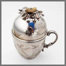 Unusual Cup Bird Finial Domed Lid Turkish 900 Silver 1925