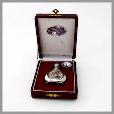 Japanese Engraved Perfume Bottle Funnel Set 950 Sterling Silver Boxed