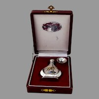 Japanese Engraved Perfume Bottle Funnel Set 950 Sterling Silver Boxed