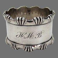 Applied Border Napkin Ring Shiebler Sterling Silver Mono HMB