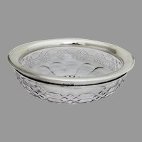 Cut Crystal Serving Bowl Sterling Silver Border Wilcox 1950s
