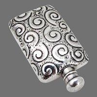 Ornate Small Flask Silver Plated 1890 Mono GF
