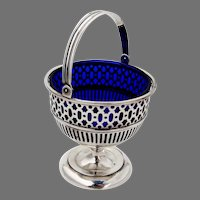 Swing Handle Basket Sterling Silver Cobalt Blue Glass Mono MOC