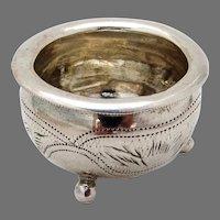 Russian Open Salt Dish Ball Feet 84 Standard Silver Kiev 1915
