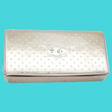 Rectangular Snuff Box European Silver Gilt Interior Mono SG