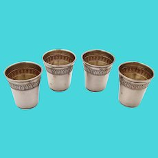 French 4 Shot Cups Set Egg Dart Band Sterling Silver No Mono
