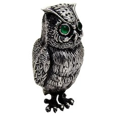 Owl Form Shaker Green Glass Eyes Sterling Silver