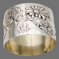 Floral Napkin Ring French Sterling Silver 1900 Mono LB