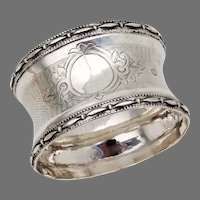 Engine Turned Napkin Ring French Sterling Silver No Mono