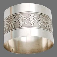 Engine Turned Cupid Napkin Ring French Sterling Silver 1890 No Mono