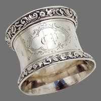 Engine Turned Napkin Ring French Sterling Silver Mono CP