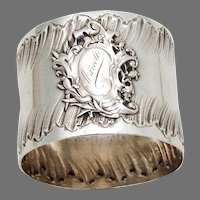 French Napkin Ring Applied Cartouche Sterling Silver Mono Marcel
