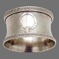 French Napkin Ring Greek Key Borders Puiforcat Sterling Silver