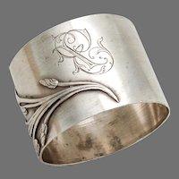 French Art Nouveau Napkin Ring Sterling Silver Mono EP