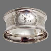 French Engine Turned Napkin Ring Sterling Silver Mono BC