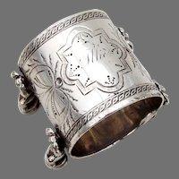 Figural Napkin Ring Coin Silver Mono Illie