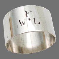 Plain Napkin Ring Stieff Sterling Silver Mono WFL
