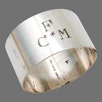 Plain Napkin Ring Stieff Sterling Silver Mono FCM
