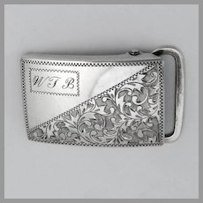 Japanese Engraved Belt Buckle 950 Sterling Silver Mono WTB