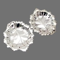 English Leaf Form Nut Cups Pair Sterling Silver 1997