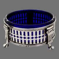 Open Salt Dish Column Feet Sterling Silver Cobalt Blue Glass Liner