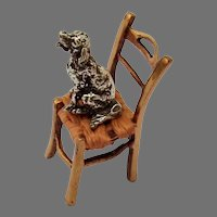 Miniature Dog On Chair Figurine Sterling Silver Brass
