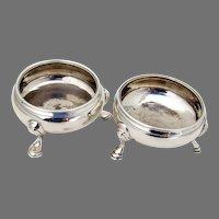 English Open Salts Pair David Mowden Sterling Silver 1750