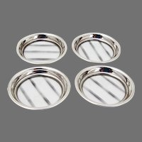 Cut Glass 4 Coasters Set Sterling Silver Borders
