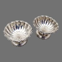 Ornate Footed Open Salt Dishes Pair Coin Silver