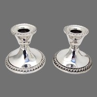 Candlesticks Pair Gadroon Border Rogers Sterling Silver Weighted