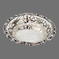 English Openwork Bowl Bird Scroll  Designs Harry Brasted Sterling Silver 1898