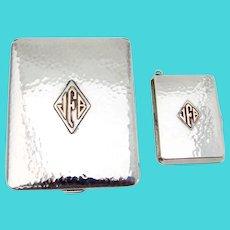 Cigarette Case Match Holder Set Sterling Silver Applied Gold Mono JFB